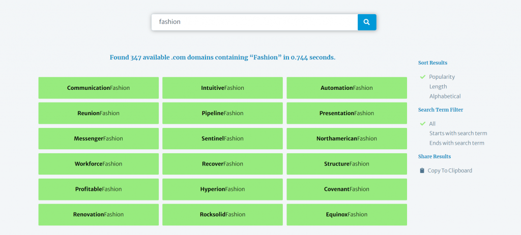 Lean Domain Search giving a list of 347 available domains containing the word fashion.