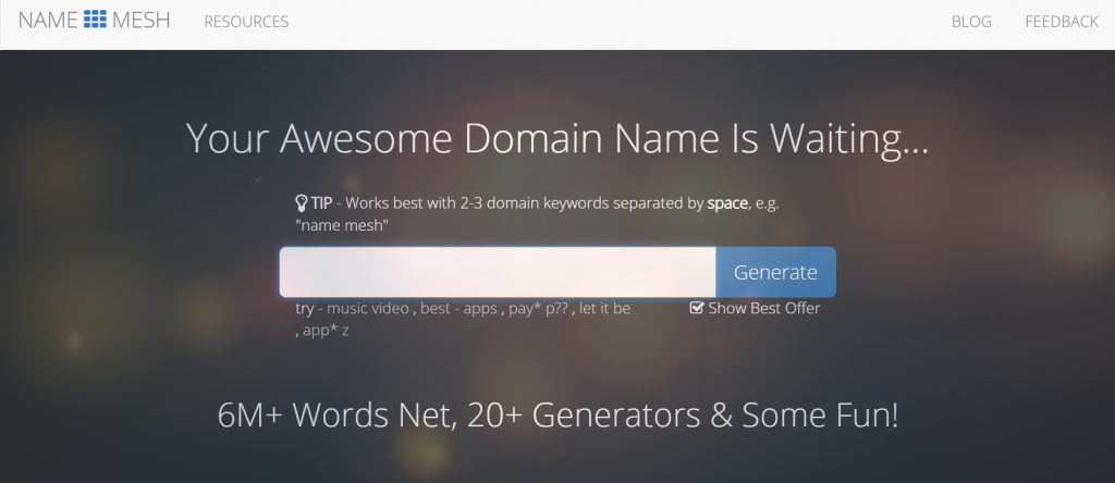 Name Mesh - Your Awesome Domain Name Is Waiting...