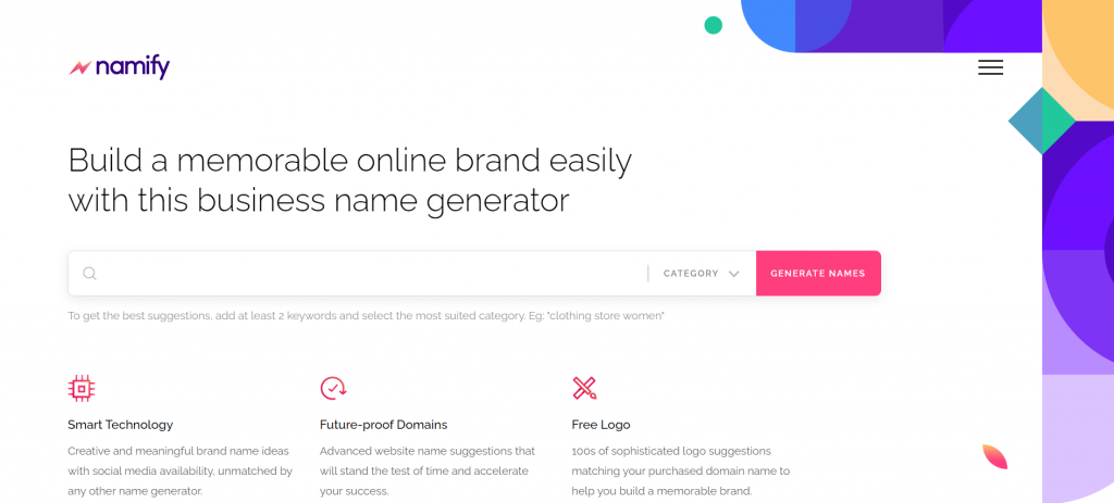 Namify - build a memorable online brand easily with this business name generator.