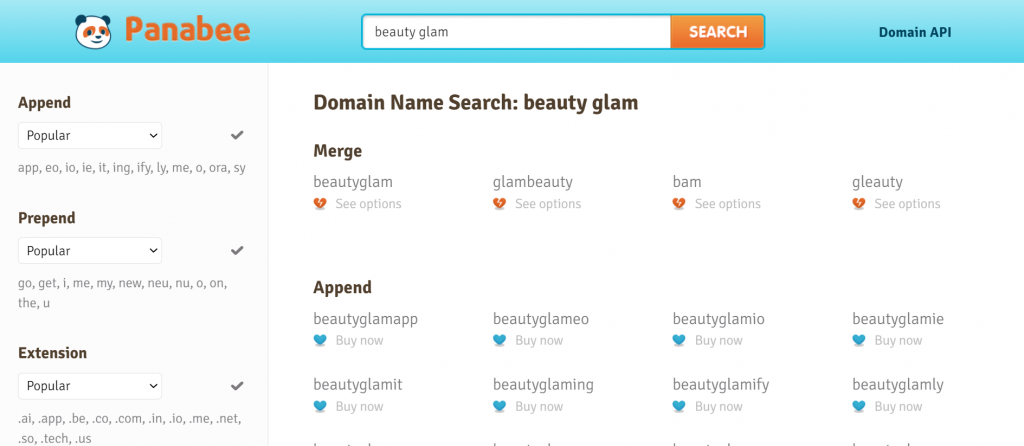 Panabee's domain search results for a beauty blog after typing in the keyword beauty glam.