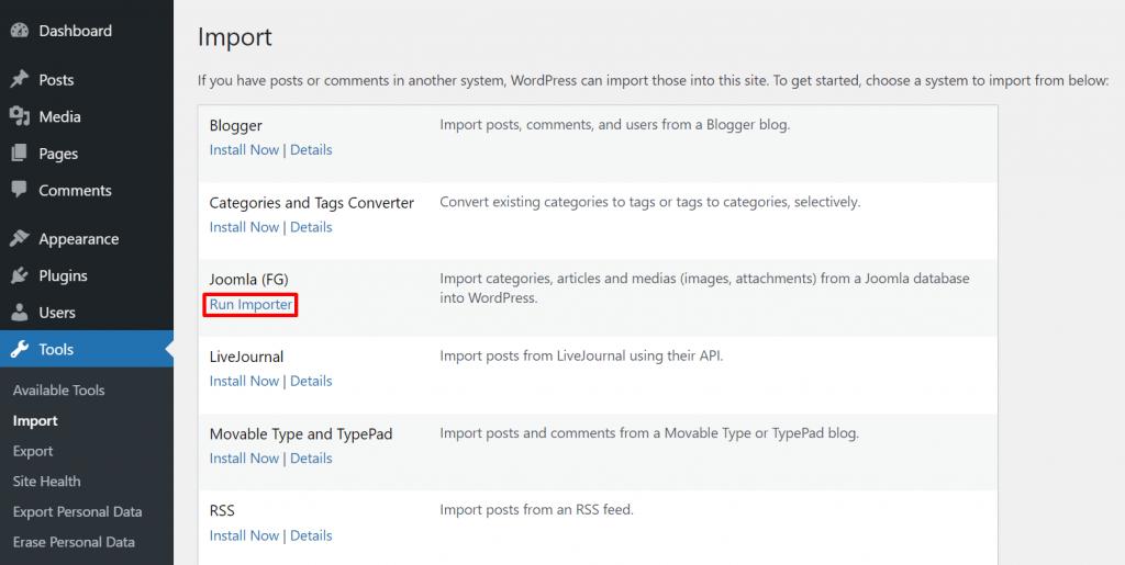 Selecting Run Importer under the Joomla (FG) option on the WordPress dashboard.