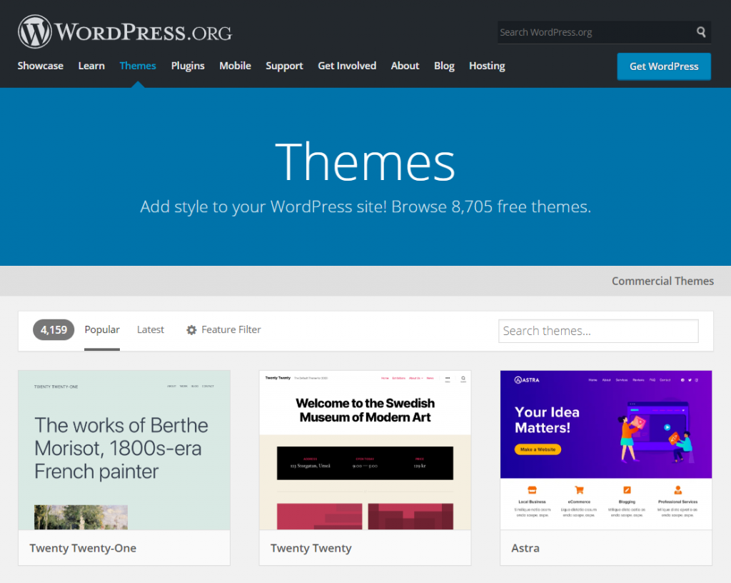The official WordPress themes library.