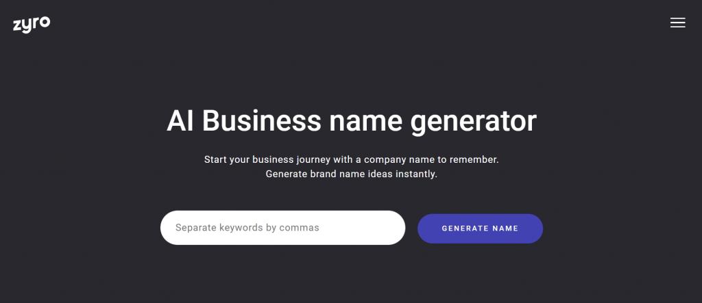 Zyro - AI Business name generator.