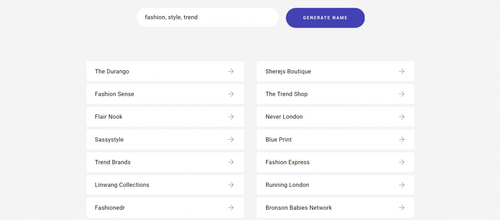 Zyro's generated blog names with keywords fashion, style, and trend.