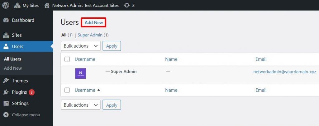 Users -> Add New