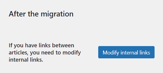 After the Joomla to WordPress migration - if you have links between articles, you need to modify internal links.