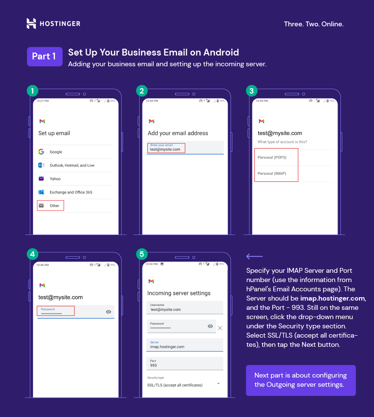 Screenshots for step 1 to 9 on how to set up an email account on Android