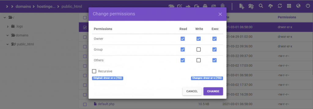 The setting popup window on hPanel.
