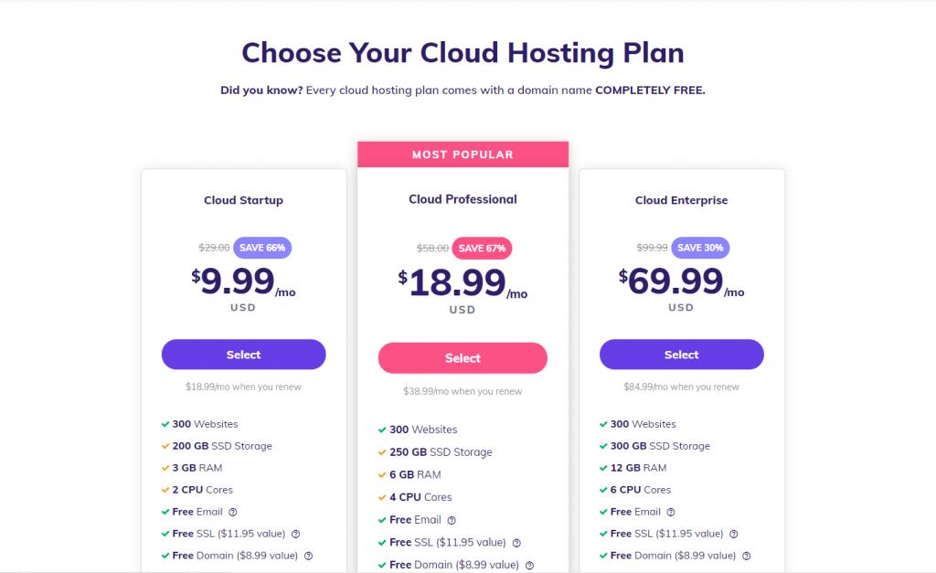 Cloud hosting plans at Hostinger.