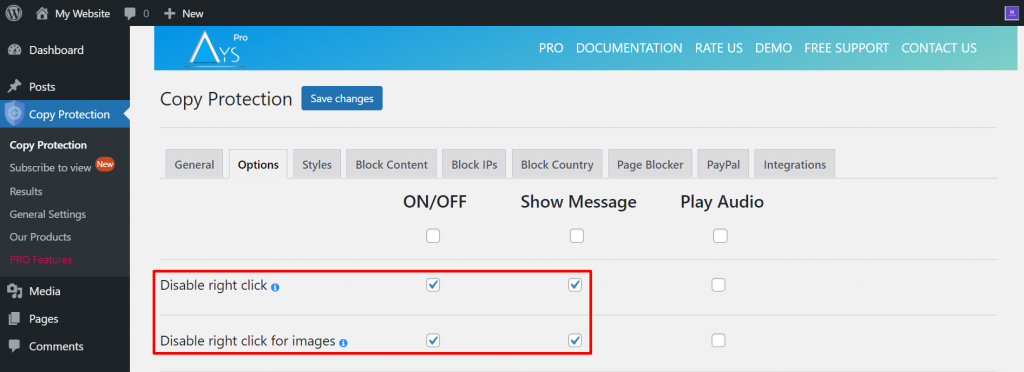 Activating hotlink protection on the Copy Protection plugin.