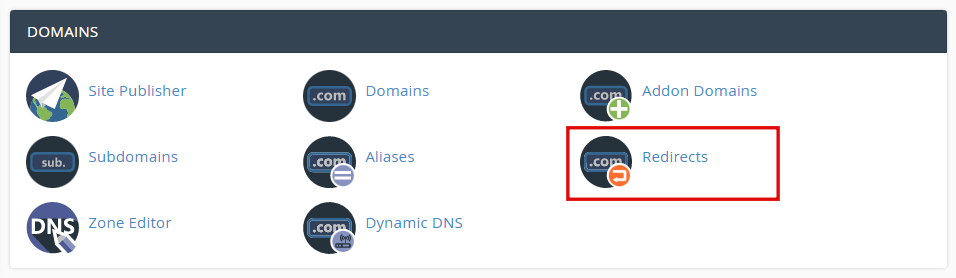 cPanel, highlighting the Redirects option