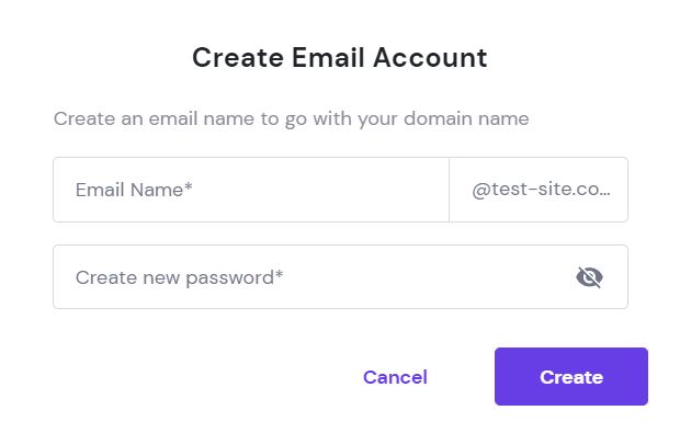 Create Email Account form