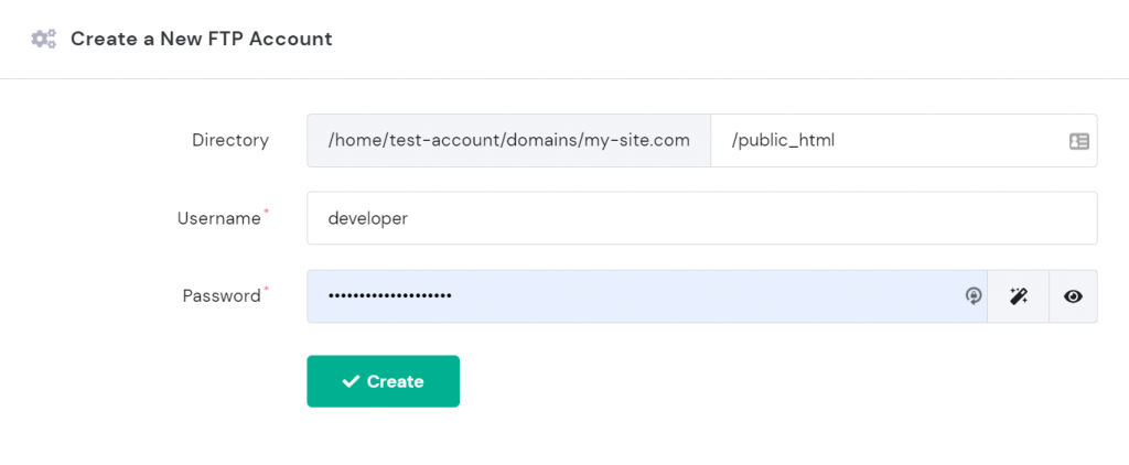 Create a New FTP Account section on hPanel