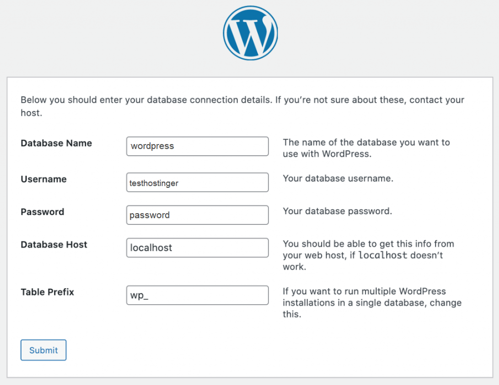 Filling out the database information on WordPress setup wizard