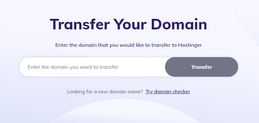 Hostinger's domain transfer