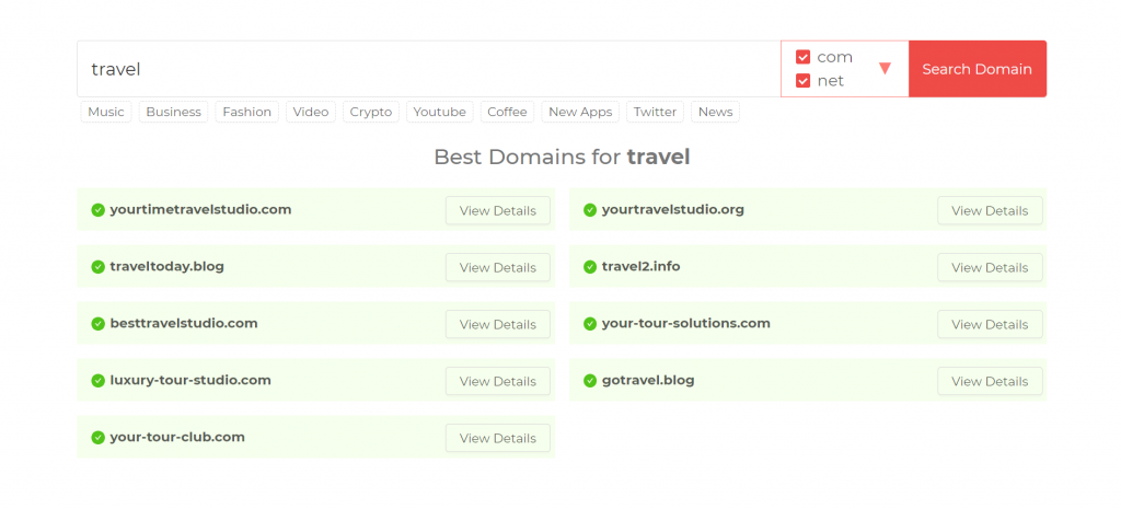 Domain Wheel's generated travel blog names with the keyword travel.