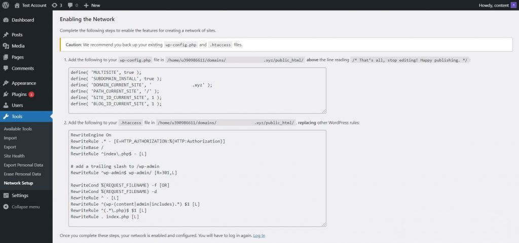 Network code snippets provided by WordPress.