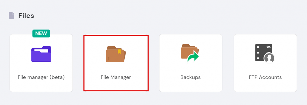 hPanel's file manager
