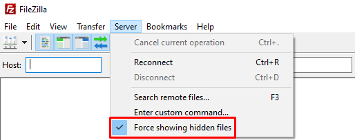 Option for force showing hidden files on FileZilla