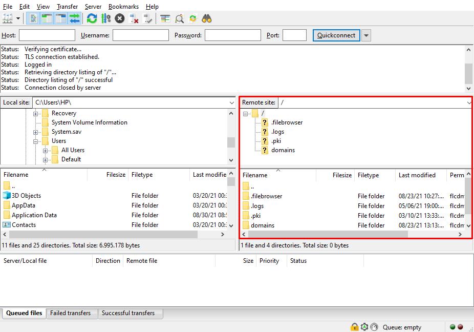 Remote site section on FileZilla