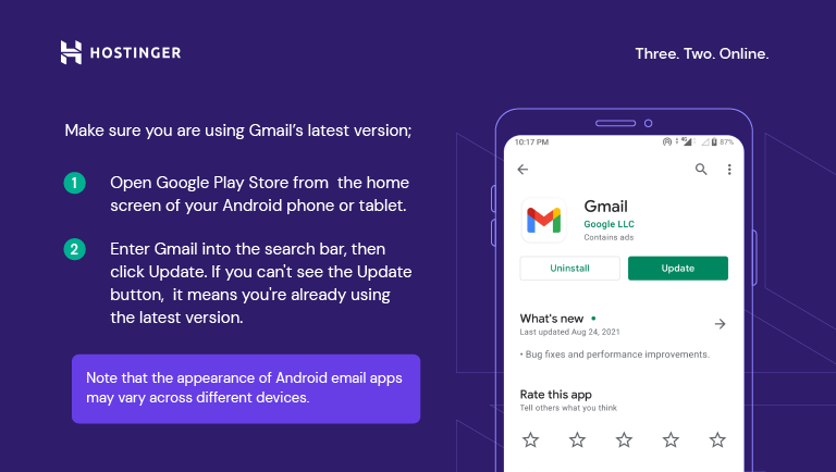 A custom graph explaining how to search for the GMail app in the Google Play Store