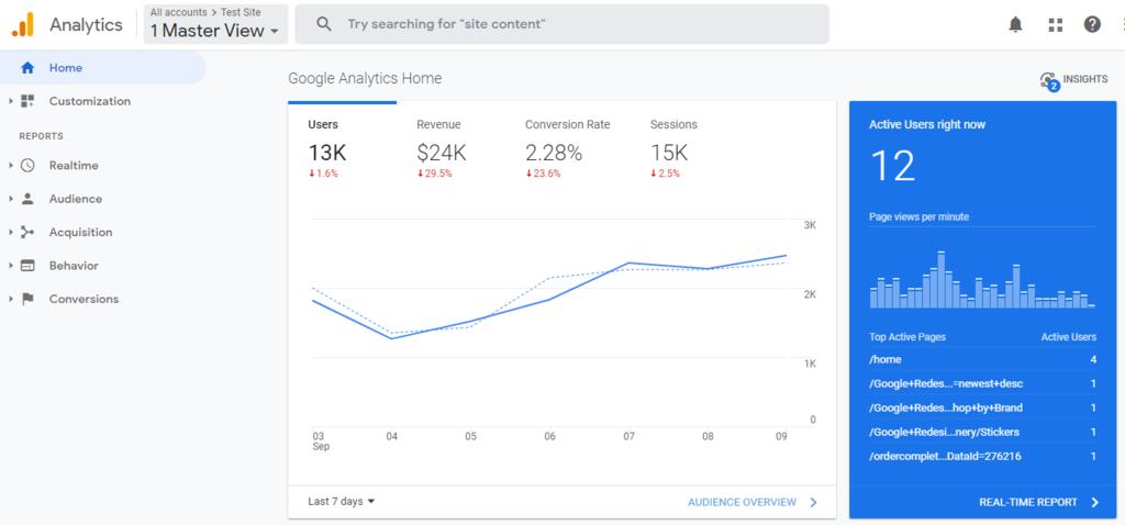 Google Analytics panel.