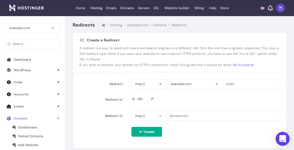 Creating a redirect on hPanel.