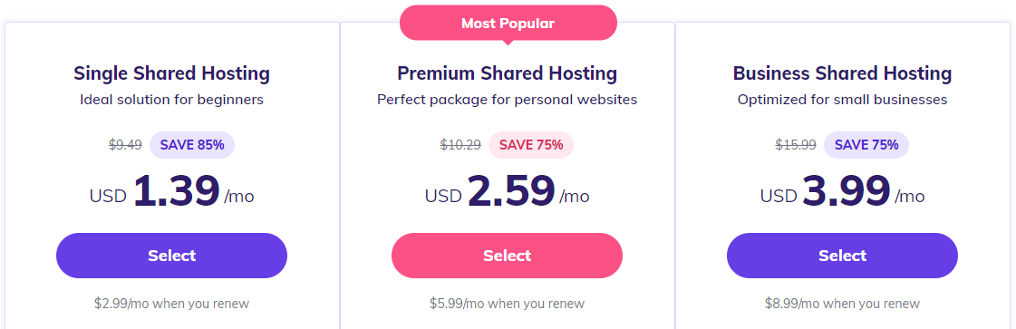 Hostinger's shared hosting pricing.