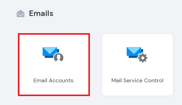 Emails section on the hPanel dashboard