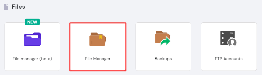 File Manager on hPanel