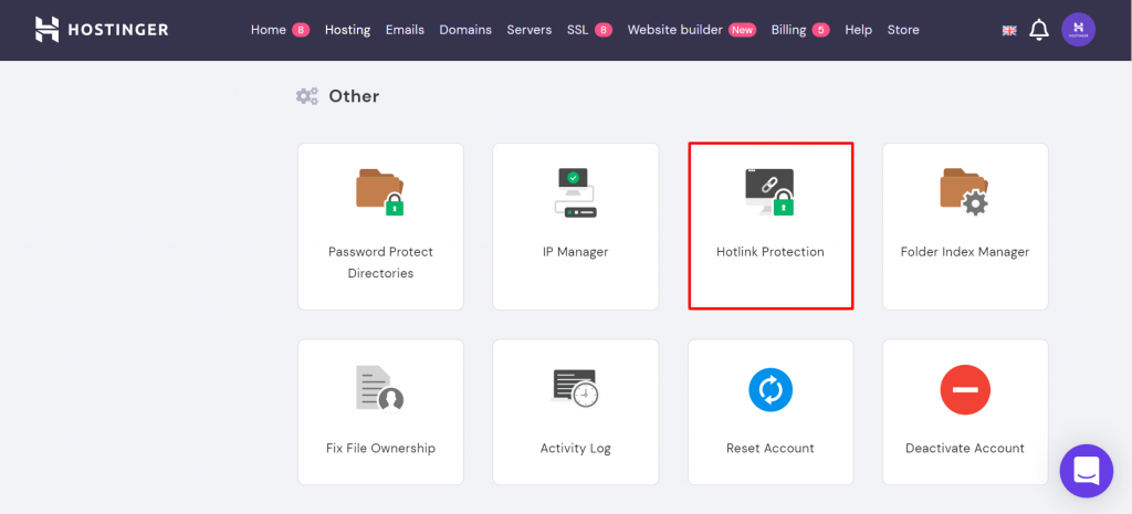 Hotlink protection on hPanel