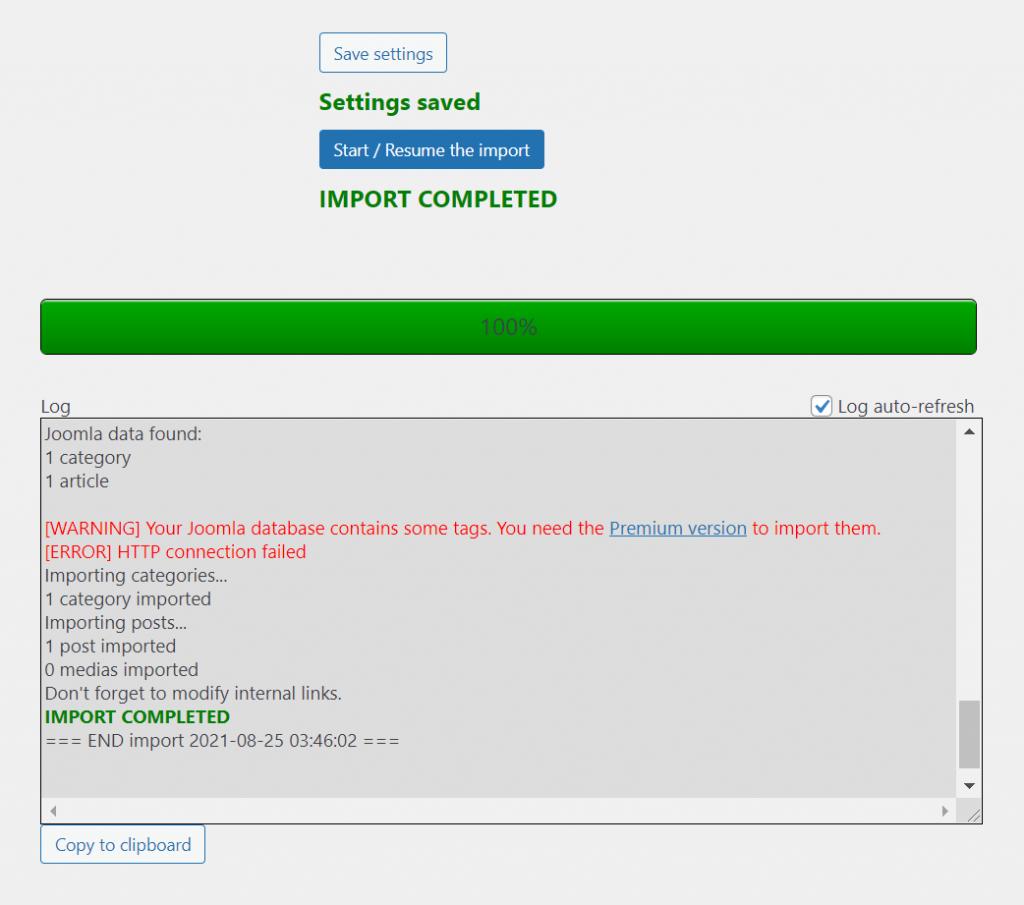 Joomla to WordPress import completed.