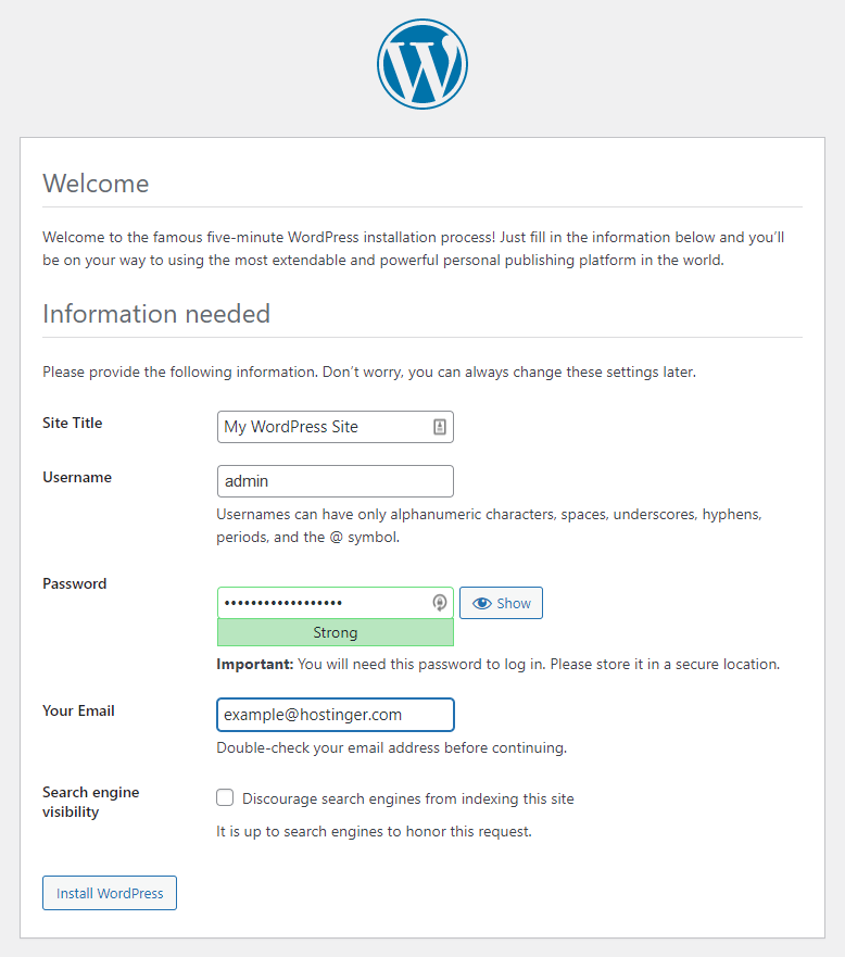 Filling out the site information on WordPress setup wizard