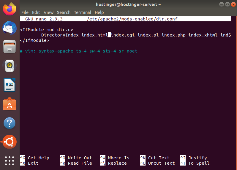 Inserting the command to load index.php via the terminal