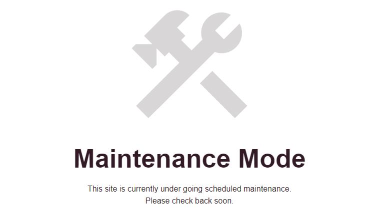 Website maintenance mode screen.