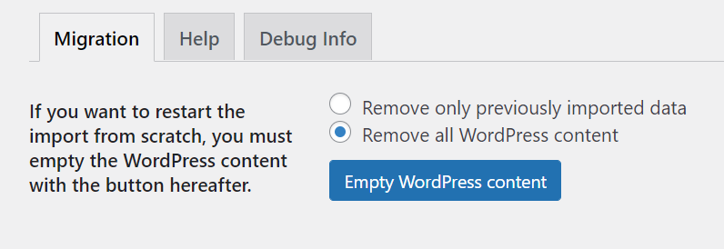 WordPress migration section.
