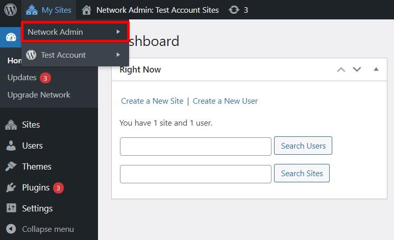 Network Admin tab