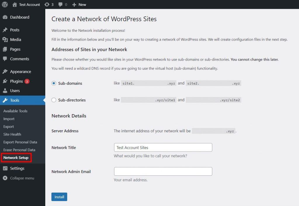 Network Setup tab