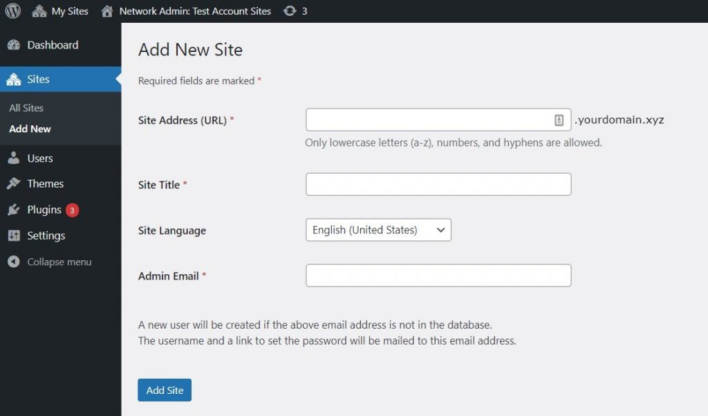 Add New Site section on WordPress