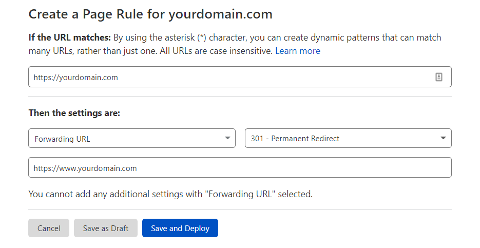 Creating a page rule on Cloudflare