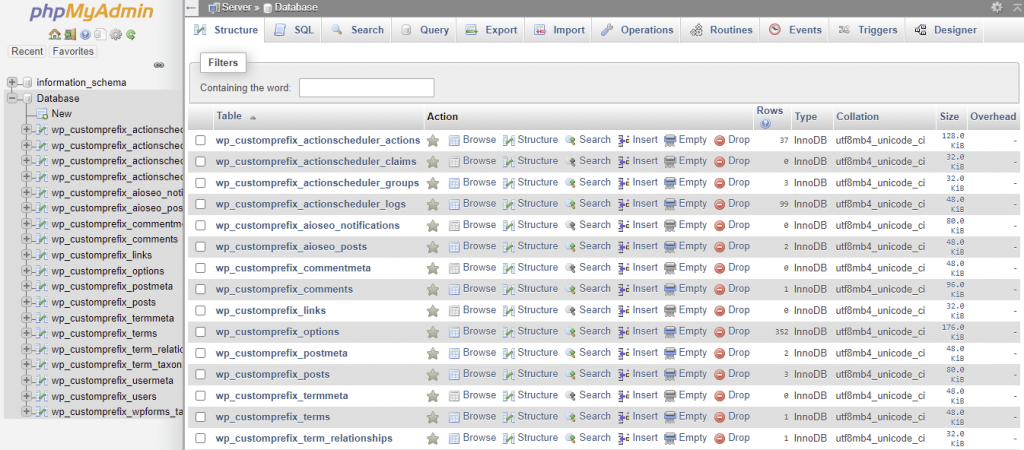 Accessing database after changing the table prefix via phpMyAdmin.