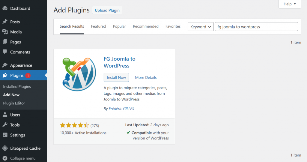 Adding FG Joomla to WordPress plugin.