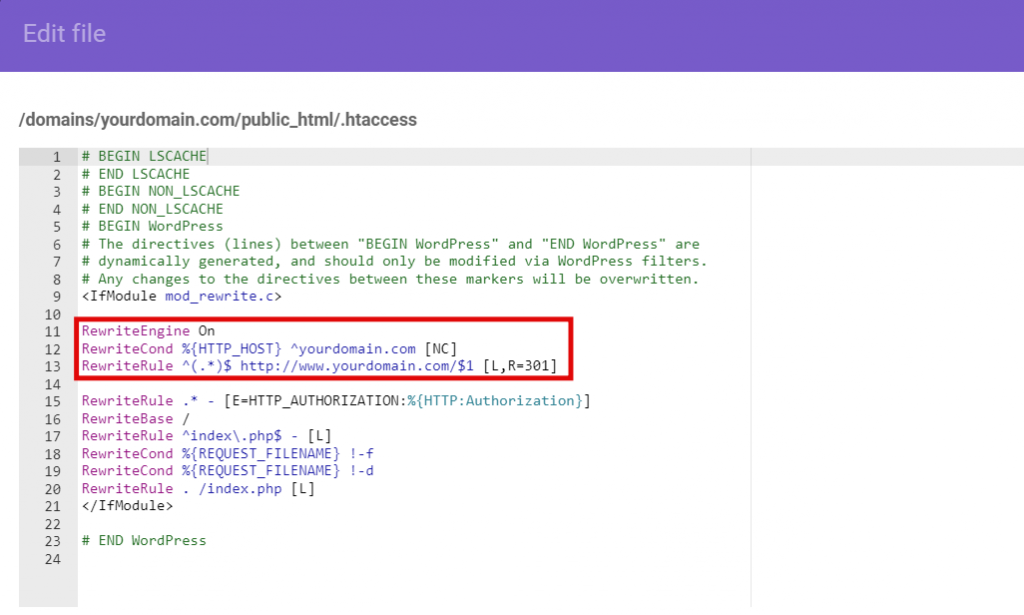 Redirect the code snippet on the .htaccess file