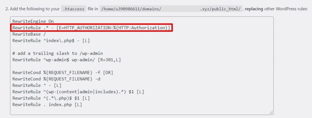 Code given by WordPress to edit the .htaccess file.